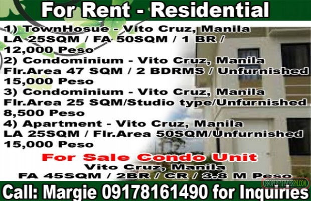 Photo #1 Condominium for rent in Metro Manila, Manila