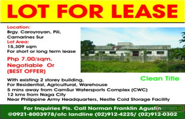 Photo #1 Commercial Land for rent in Camarines Sur, Pili